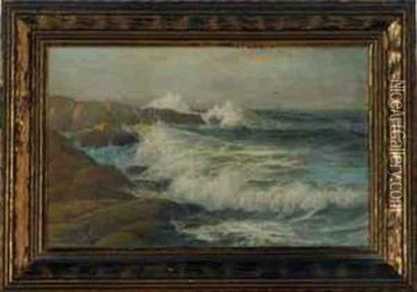 Just Before Sunset, Waves Crashing On The Shore At Cape Ann Oil Painting - George Howell Gay