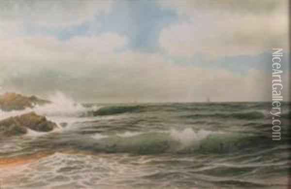 Ship Off A Rocky Coast Oil Painting - George Howell Gay