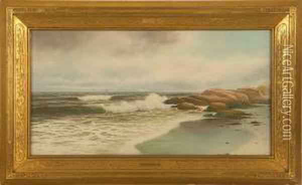 Beach Scene With Crashing Waves And Distant Ship. Oil Painting - George Howell Gay