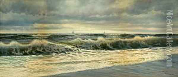 Waves Crashing On The Shore Oil Painting - George Howell Gay