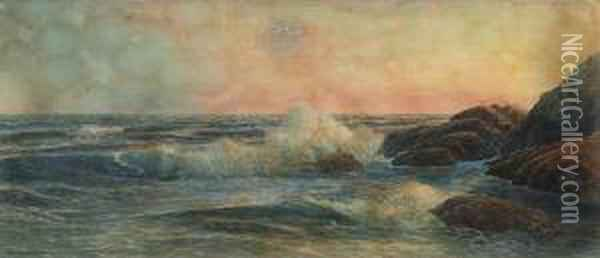 Seabreaking On A Rocky Shore Oil Painting - George Howell Gay