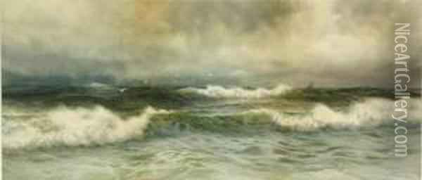 Seascape With Crashing Waves Oil Painting - George Howell Gay