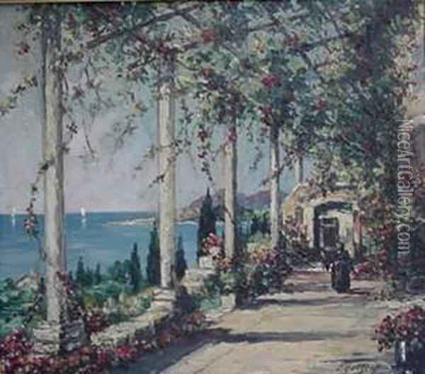 By The Coast Oil Painting - Leonid Gechtoff