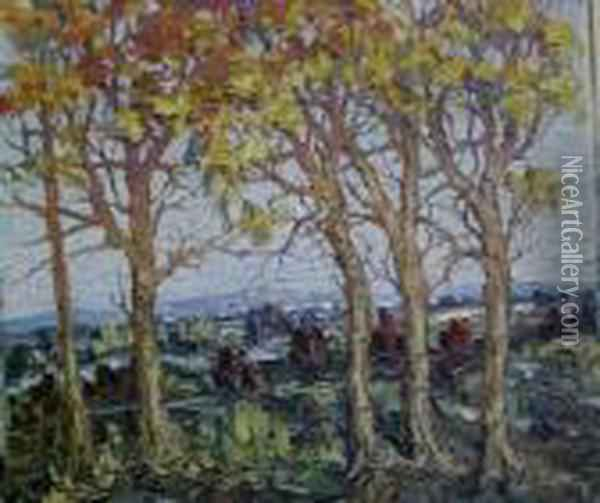 Trees In Autumn Oil Painting - Leonid Gechtoff