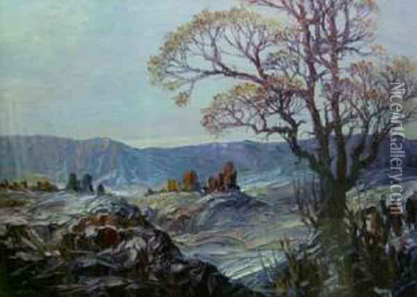 Tree In A Landscape Oil Painting - Leonid Gechtoff