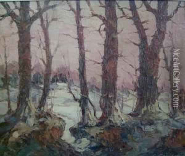 Winter In New Jersey Oil Painting - Leonid Gechtoff