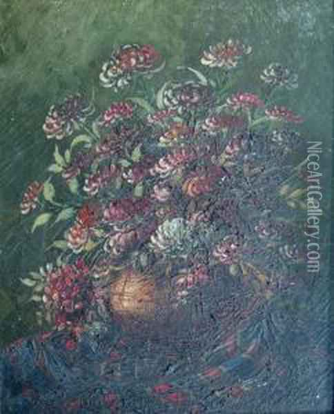 Bowl Of Flowers Oil Painting - Leonid Gechtoff