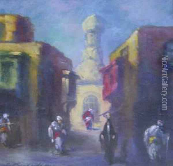 North African Street Scene Oil Painting - Leonid Gechtoff