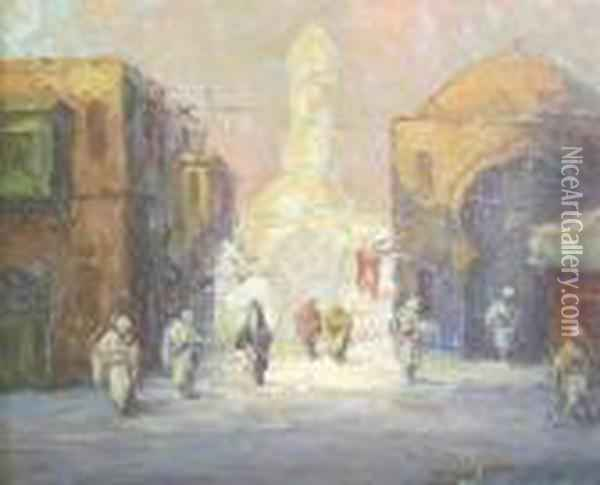 A Street In Cairo Oil Painting - Leonid Gechtoff