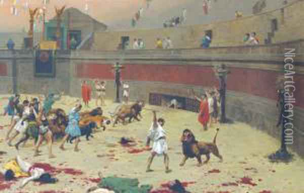 The Retreating Lions Oil Painting - Jean-Leon Gerome