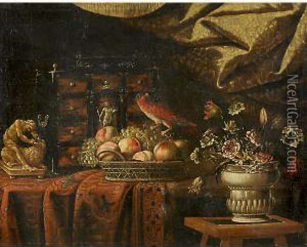 Natura Morta Con Uccello Oil Painting - Antonio Gianlisi The Younger