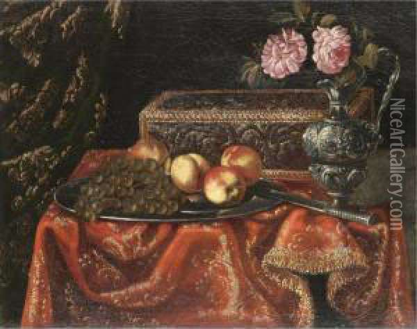 A Still Life With Grapes And 