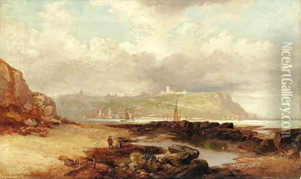A view of Dover Castle from the harbor Oil Painting - James Wilson Carmichael