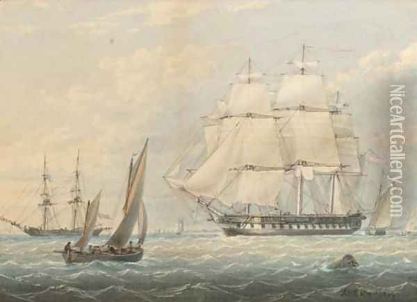 A Royal Naval frigate amidst other shipping at Spithead Oil Painting - James Wilson Carmichael