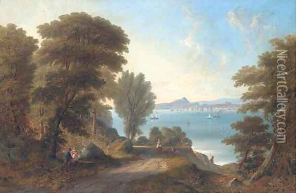 A view across the Firth of Forth to Edinburgh, the Castle, Holyrood Palace, Arthur's Seat and the Salisbury Crags in the distance Oil Painting - James Wilson Carmichael