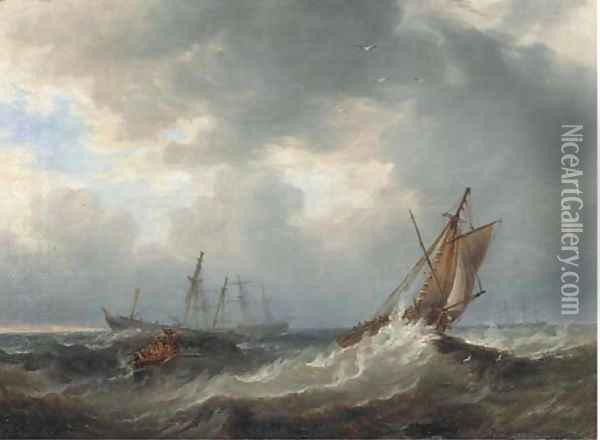 Going to the rescue Oil Painting - James Wilson Carmichael