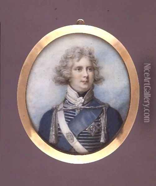 George IV as Prince Regent, c.1790 Oil Painting - Richard Cosway