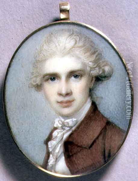 Portrait Miniature of a Young Man in a Brown Coat, 1780's Oil Painting - Richard Cosway