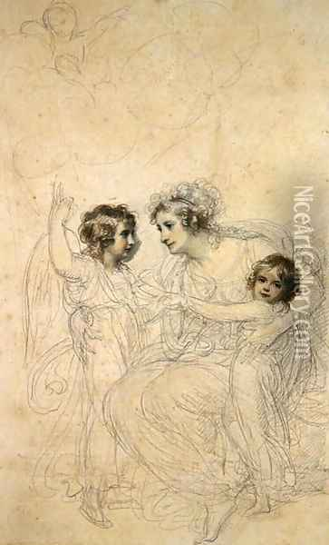 The Countess of Hopetoun with her daughters Jasmin and Lucy Oil Painting - Richard Cosway