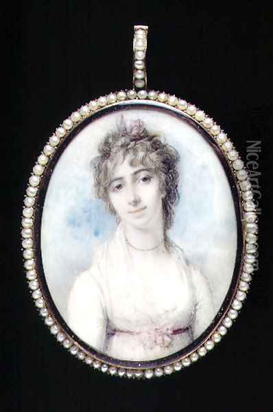 Portrait miniature of Mrs Arbuthnot, first wife of Charles Arbuthnot, 1796 Oil Painting - Richard Cosway