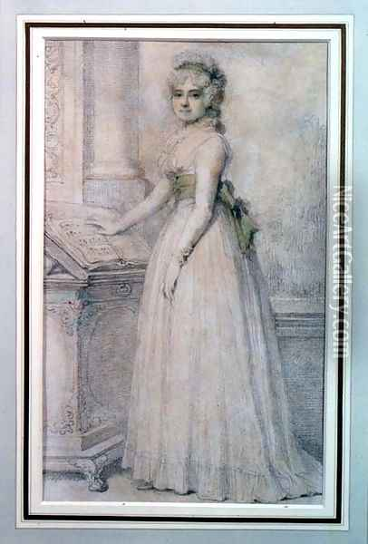 Portrait of a woman by a music stand Oil Painting - Richard Cosway