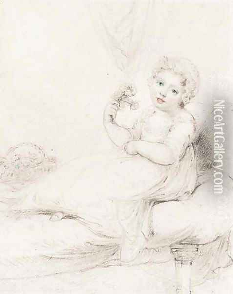 A child, seated on a sofa, holding a posy of flowers Oil Painting - Richard Cosway