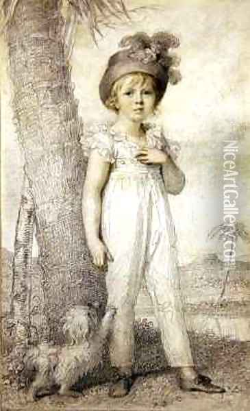 Boy Wearing a Plumed Hat Oil Painting - Richard Cosway
