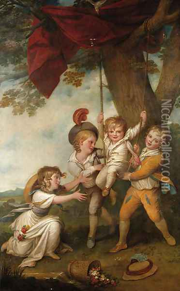 The Boyle Children Group Portrait of the Children of Edmund Boyle, 7th Earl of Cork Oil Painting - Richard Cosway