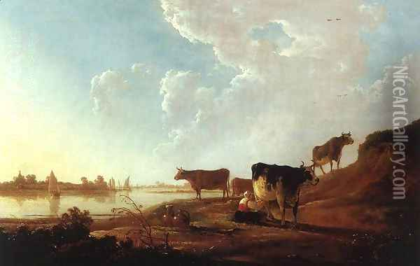 River Scene with Milking Woman c. 1646 Oil Painting - Aelbert Cuyp