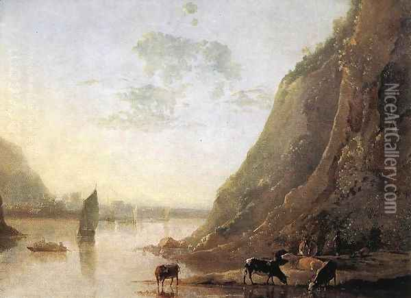 River-bank with Cows c. 1650 Oil Painting - Aelbert Cuyp