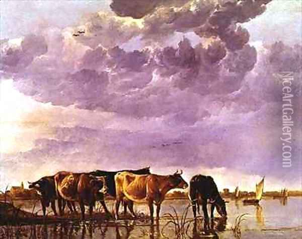 Cows in the Water 2 Oil Painting - Aelbert Cuyp