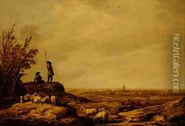 Panoramic Landscape with Shepherds Sheep and a Town Beverwijk in the Distance Oil Painting - Aelbert Cuyp