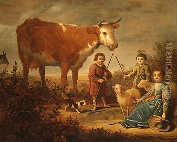 Children and a Cow Oil Painting - Aelbert Cuyp