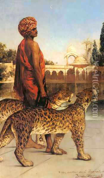 Palace Guard with Two Leopards Oil Painting - Benjamin Jean Joseph Constant