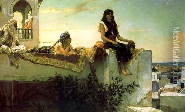 A terrace in Morocco, in the evening Oil Painting - Benjamin Jean Joseph Constant