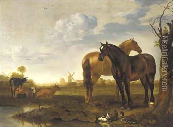 Two horses and a milkmaid with cows in a landscape with a pond, a view of a city beyond Oil Painting - Abraham Van Calraet