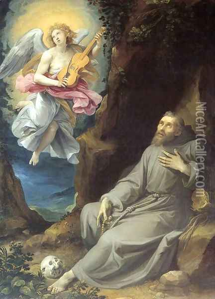 St Francis Consoled by an Angel Oil Painting - Giuseppe Cesari