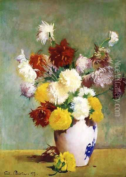 Still Life of Chrysanthemums in a Canton Vase Oil Painting - Emil Carlsen