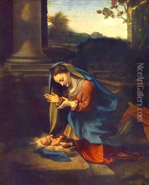 The Adoration of the Child 1518 Oil Painting - Antonio Allegri da Correggio