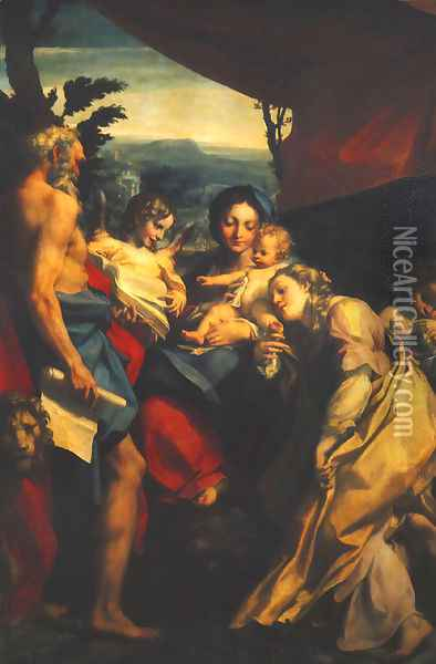 Madonna and Child with Sts Jerome and Mary Magdalen (The Day) 1525 Oil Painting - Antonio Allegri da Correggio