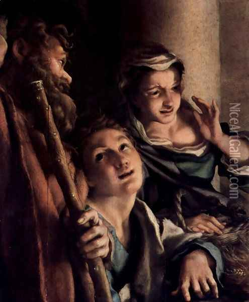 Adoration of the Shepherds (The Night), detail, shepherds Oil Painting - Antonio Allegri da Correggio