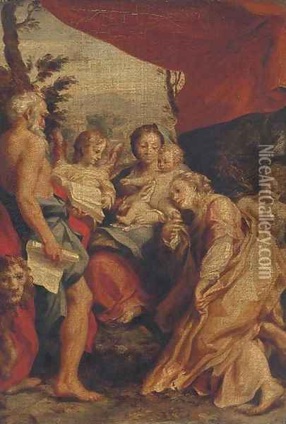 The Madonna and Child with Saints Jerome and Mary Magdalene and angels Oil Painting - Antonio Allegri da Correggio