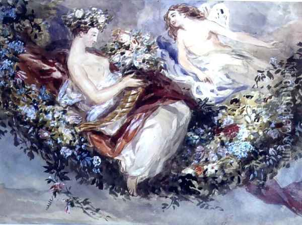 Flora and Zephyr Oil Painting - John James Chalon