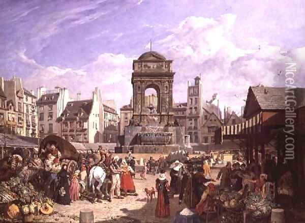 The Market and Fountain of the Innocents, Paris, 1823 Oil Painting - John James Chalon