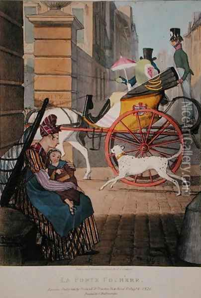 The carriage entrance, from 'Twenty-four Subjects, Exhibiting the Costume of Paris', 1817-22 Oil Painting - John James Chalon