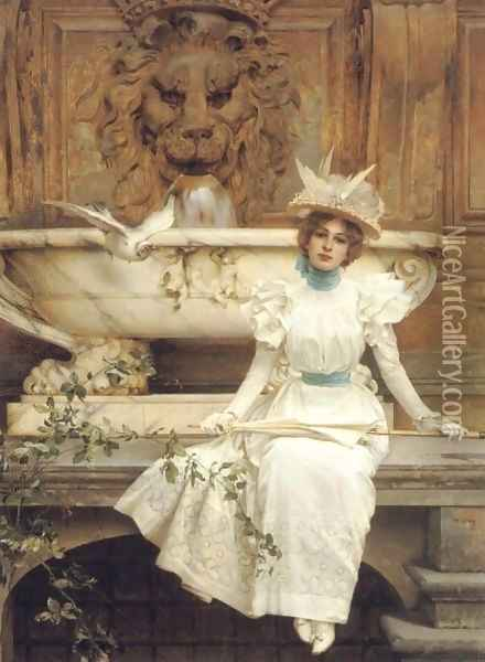 Waiting by the Fountain Oil Painting - Vittorio Matteo Corcos