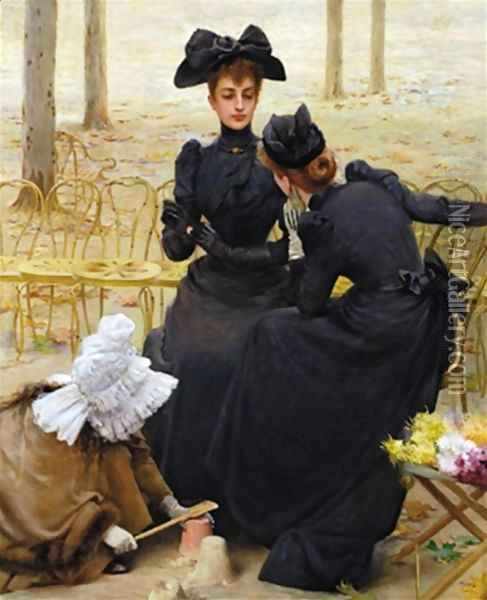 Entertainment at the Garden of Luxembourg Oil Painting - Vittorio Matteo Corcos