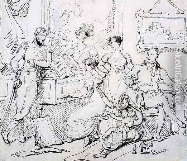 A Family Group Around a Piano Oil Painting - George Chinnery