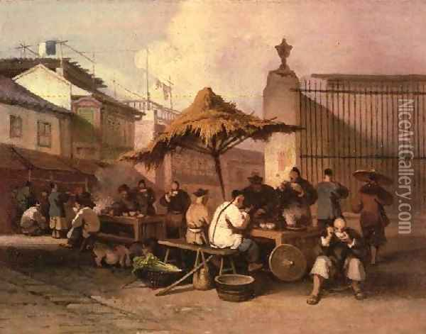 A Group of Chinese eating outside church of San Domingo Oil Painting - George Chinnery