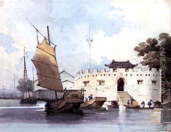 The Dutch Folly Fort off Canton Oil Painting - George Chinnery